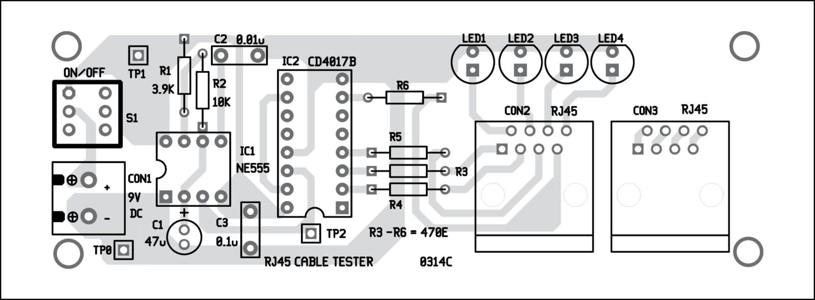 Rj45 Cable Tester Detailed Circuit Diagram Available Crossover Utilizes Two Different Pinouts For The Ends Fig 4 Component Layout Pcb