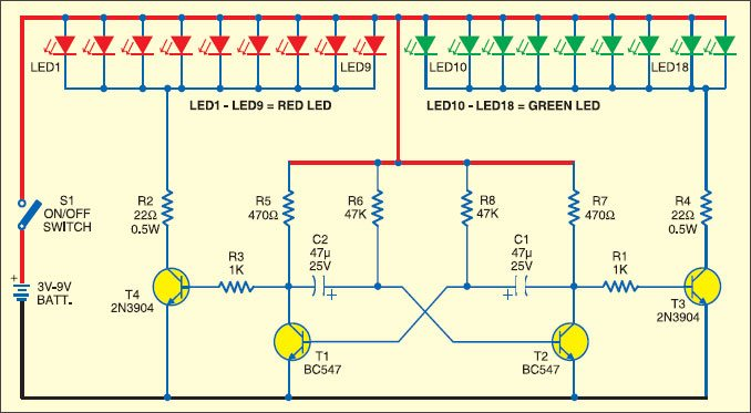 Christmas Lights Using LEDs | Detailed Circuit Diagram Available
