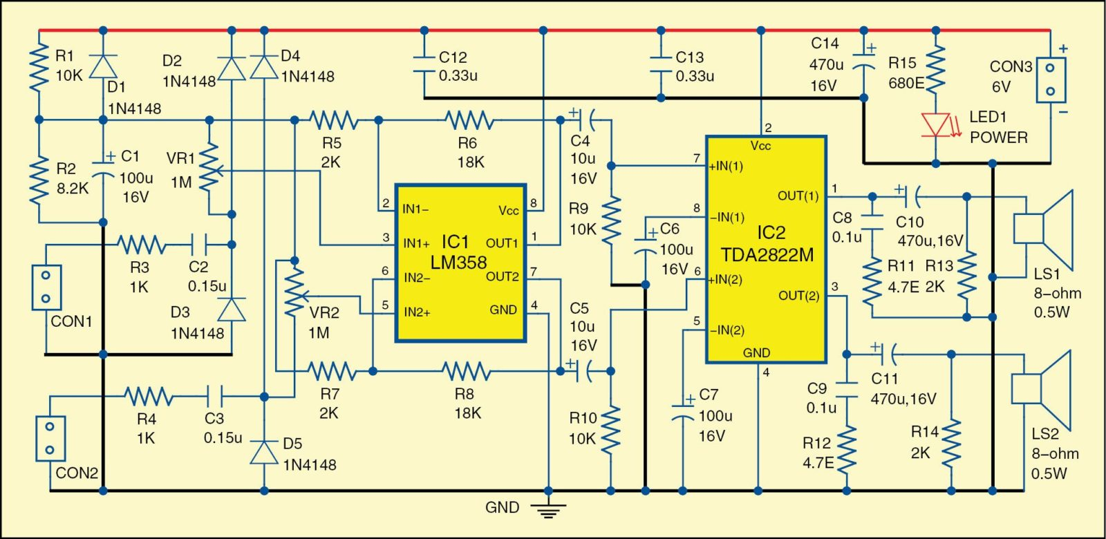 Dual Audio Signal Tracer Detailed Project Available Lm358 Single Power Supply Voltage Datasheet And Circuit Diagrams 1 Diagram Of The