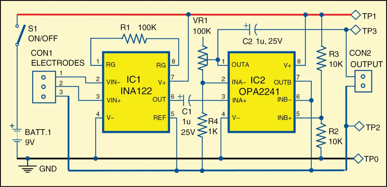 Circuit diagram of HMI through Electromyography