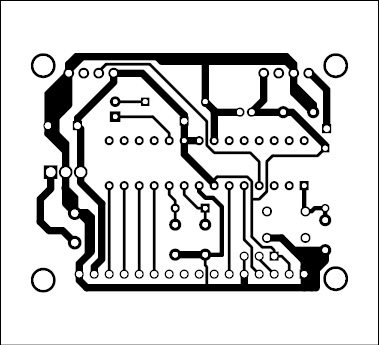 Fig. 5: Actual-size PCB pattern of the receiver unit