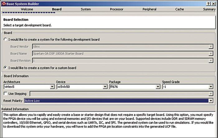 Fig. 4: Custom board selection
