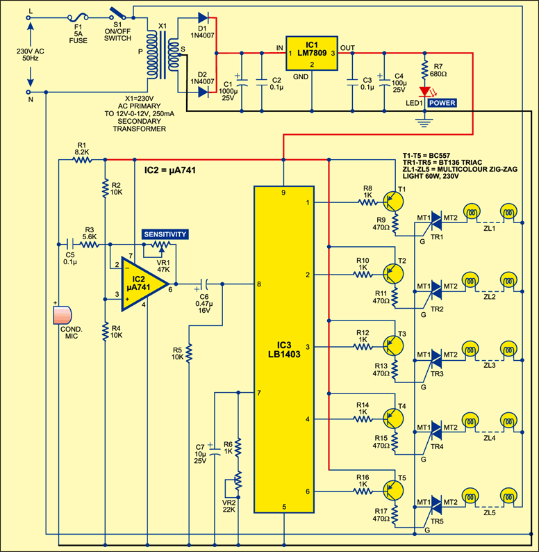 Fig. 1: Circuit diagram of musical light chaser