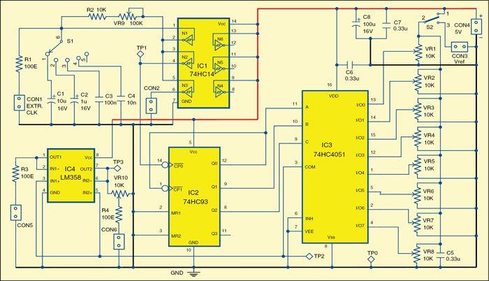 Fig. 1: Circuit diagram of simple adjustable staircase waveform generator