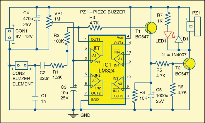 door knock or vibration alarm electronics for you 1 circuit diagram of a door knock alarm
