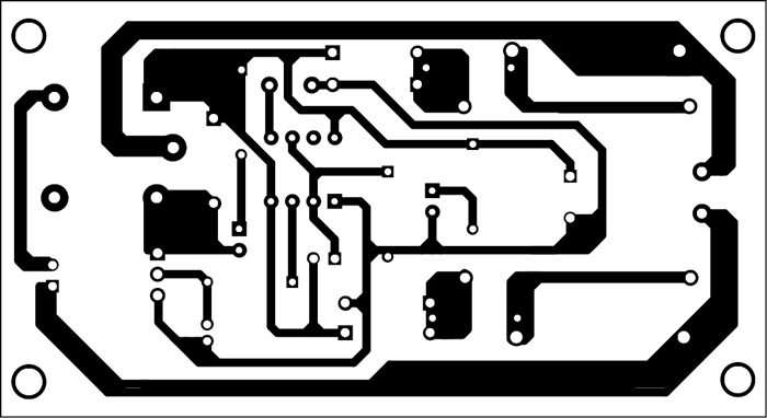 Fig. 3: Actual-size PCB layout of an automatic evening lamp