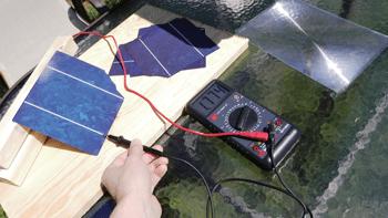 Multimeter testing of solar cells