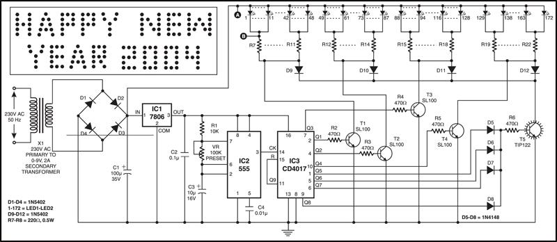 Fig. 2: Circuit diagram of LED-based message display