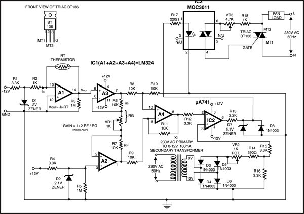 automatic temperature controlled fan full circuit diagram temperature controlled fan circuit