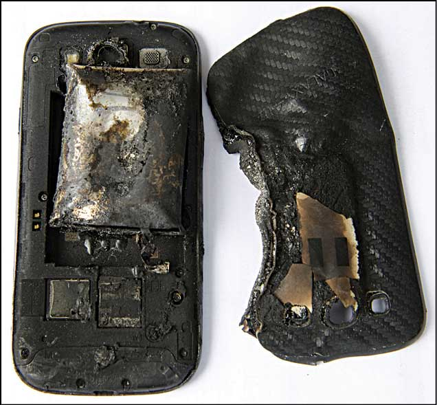 Mobile phone after explosion