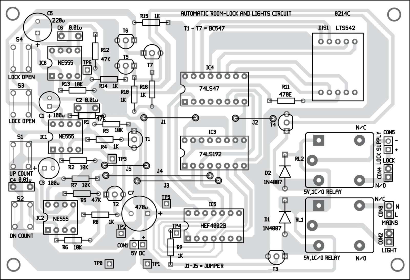 Automatic Room Lock And Lights Circuit Electronics For You Decade Counter Diagram Free Download Wiring Diagrams Fig 3 Component Layout The Pcb