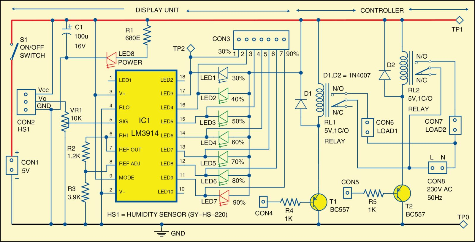 Earth leakage indicator circuit electronic circuit projects - 786_fig_1 Fig 1 Circuit Diagram Of Humidity Indicator And Controller