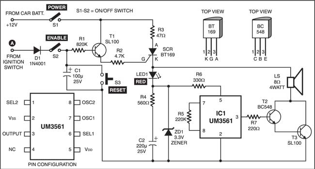 anti theft alarm for vehicles full circuit diagram with explanation rh electronicsforu com Home Alarm Schematic Simple Alarm Circuit