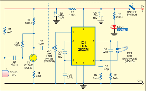 Fig. 1: Hearing aid circuit