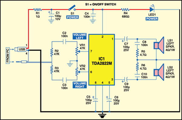 Fig. 1: Circuit for a PC multimedia speaker
