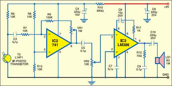 Fig. 2: IR audio receiver circuit