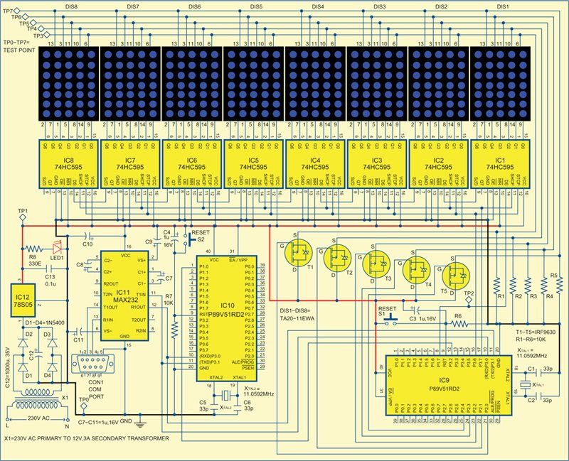led moving message display circuit diagram led gsm based dot matrix display electronics for you on led moving message display circuit diagram
