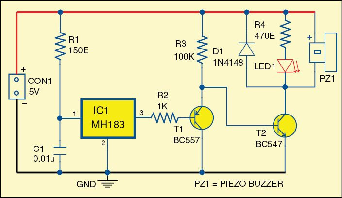 Fig. 1: Circuit diagram of the door-opening alarm