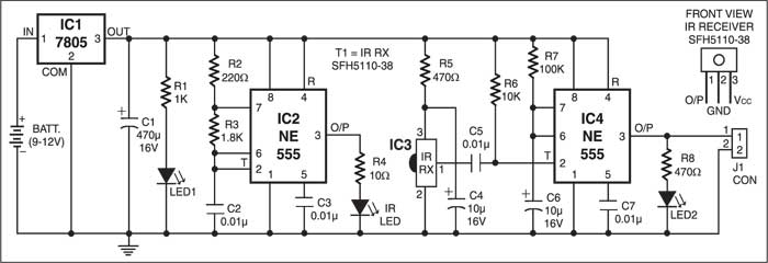 Infrared Proximity Detector Circuit | Detailed Circuit Diagram Available