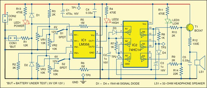 Monitor for 6V/12V Batteries | Electronics For You on car circuit diagram, solar circuit diagram, 220v circuit diagram, dc circuit diagram, led circuit diagram, power circuit diagram, ground circuit diagram, usb circuit diagram, inverter circuit diagram, fan circuit diagram, diesel circuit diagram, 120v circuit diagram, 277v circuit diagram, green circuit diagram, 240v circuit diagram, ac circuit diagram, halogen circuit diagram, charger circuit diagram, voltage circuit diagram,