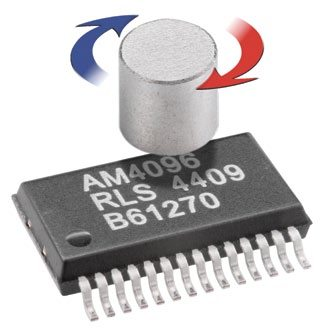 Fig. 2: AM4096 magnetic encoder chip from Renishaw. All of the sensor and processing electronics have been placed within the compact silicon design. The rotation of a simple north/south magnet is picked up by the AM4096's sensor and provides absolute positional information output to an accuracy of better than 0.1 degree