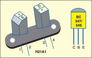 Fig. 2: Pin configurations of sensor H21A1and transistor BC547/548