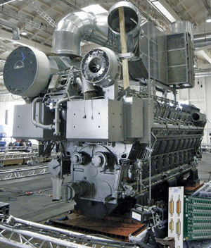 Fig. 4: A shipboard diesel engine with many temperature sensors to monitor its operation. Using a PXI chassis, these sensors are simulated when testing the engine control
