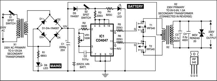 Fig.2 .Circuit diagram of UPS
