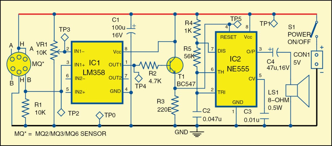 Fig. 1: Circuit diagram of the detection alarm circuit