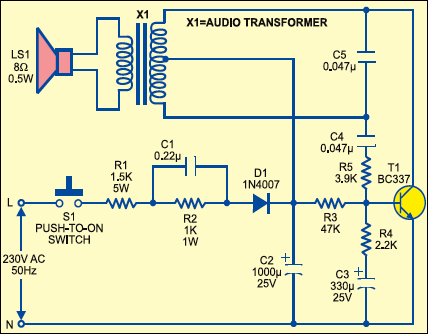 Fig. 1: Circuit of parrot-sounding doorbell