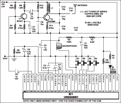 Fig. 2: Circuit diagram of intruder alert system