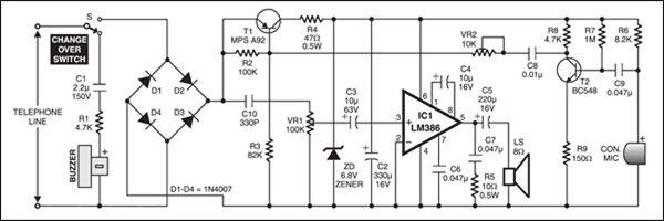 telephone receiver detailed circuit diagram available rh electronicsforu com simple telephone circuit diagram Telephone Security Diagram