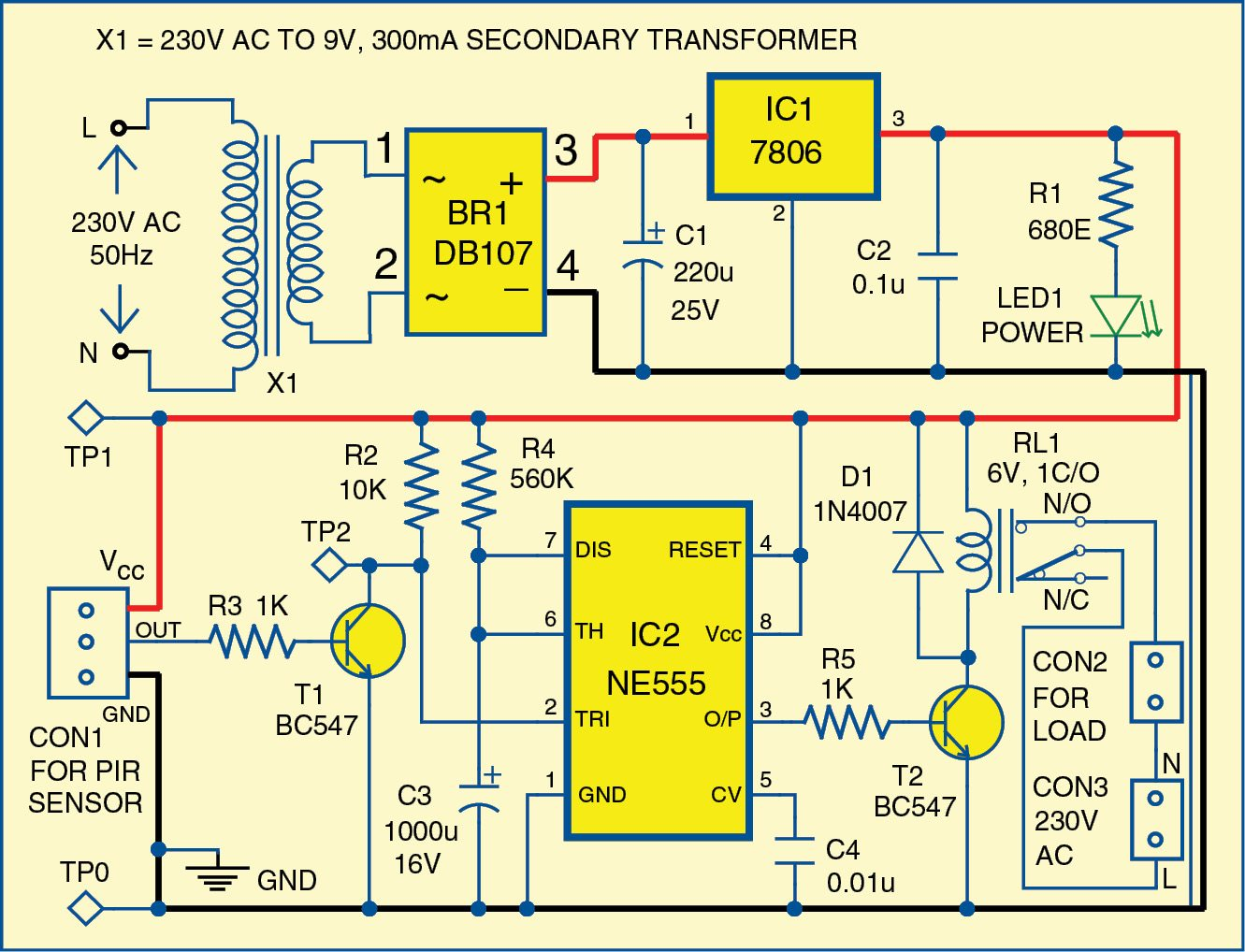 Motion Detector Using Ne555 Timer Electronics For You Voltage Controlled Switch The 555 Fig 1 Circuit Diagram Of