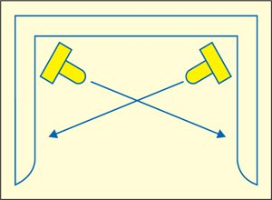 Fig. 2: Orientation of LEDs and the arrowsindicating the direction of light from LEDs