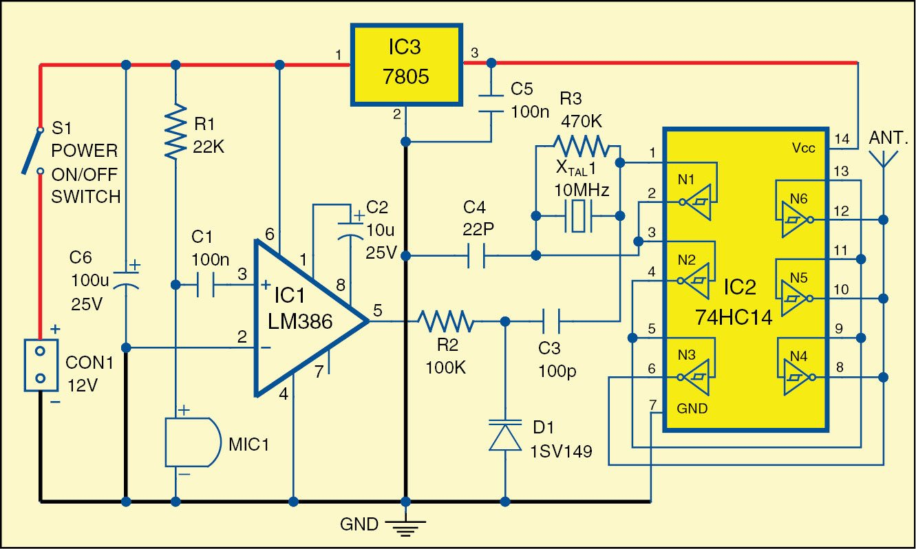Wireless Baby Monitor Electronics For You Transmitter Microphone Circuit Circuitschematic Electric 1 Diagram Of The