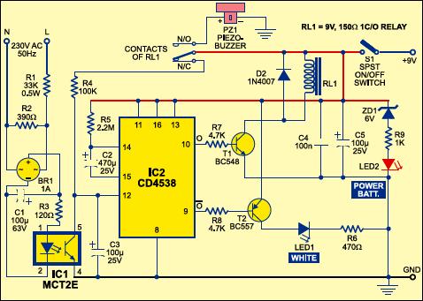 mains supply failure alarm circuit