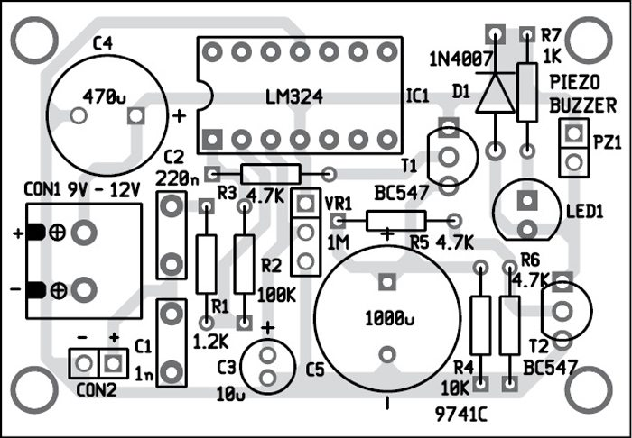 door knock or vibration alarm electronics for you LM324 Op-Amp Circuits circuit fig 3 ponent layout of the pcb
