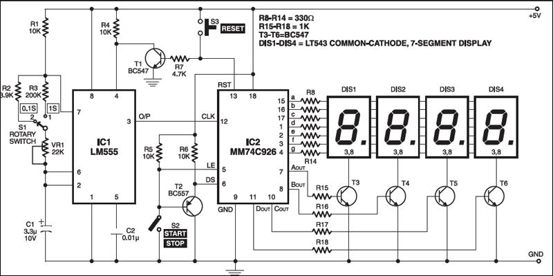digital stop watch electronics for you rh electronicsforu com Basic Circuit Diagram Digital Circuit