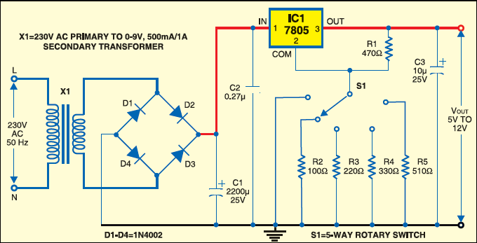 Variable Power Supply Using a Fixed-Voltage Regulator IC