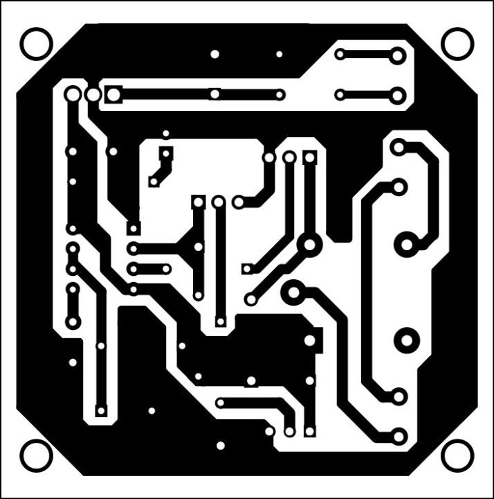 Fig. 2: Actual-size PCB of the motion detector