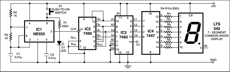 Numeric Display Digital Dice | Detailed Circuit Diagram Available
