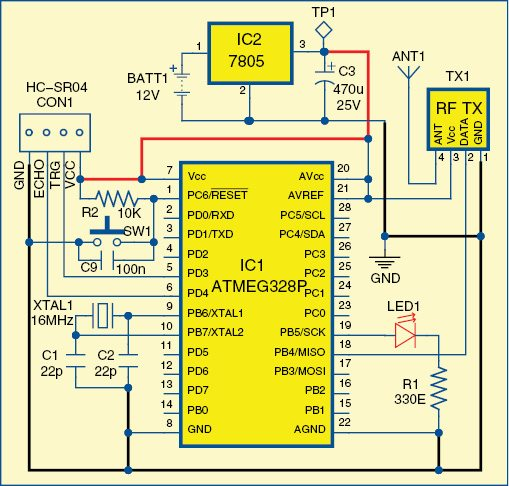 Fig. 1: Circuit diagram of the transmitter unit