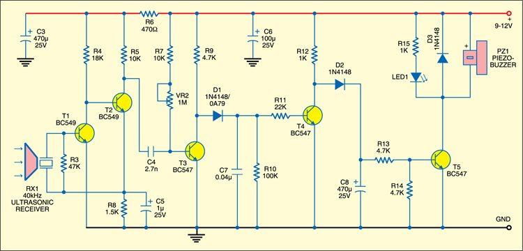 Ultrasonic Burglar Alarm: Receiver circuit
