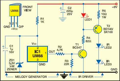 Fig. 1: IR Transmitter circuit