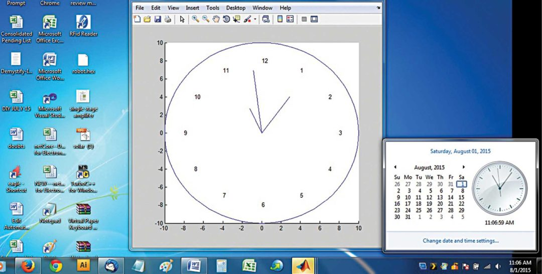 Analogue clock using MATLAB: Screenshot of the program output