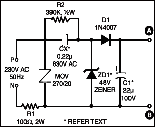 Fig.1: The circuit of ultra-bright white LED lamp