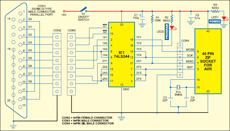 Atmel AVR ISP dongle circuit