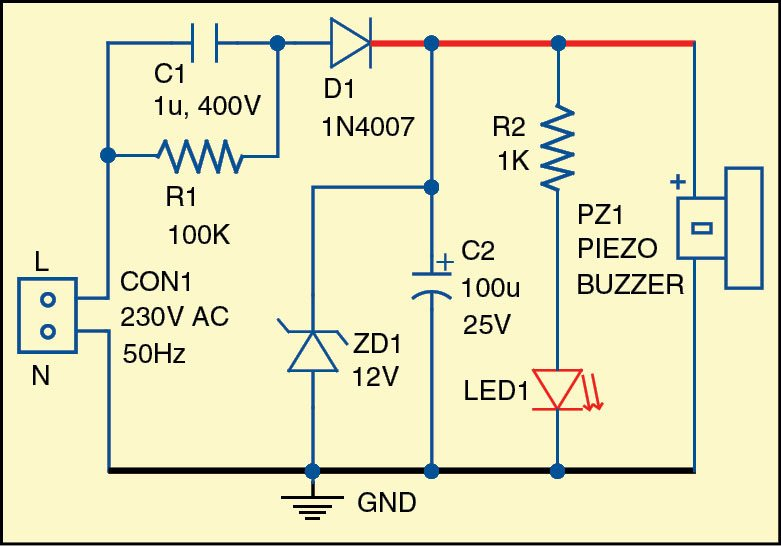 Simple Light and Sound Indicator for Mains Power Supply