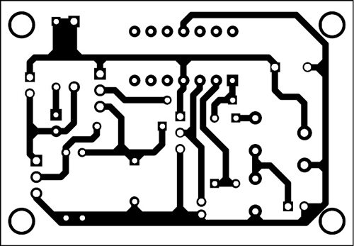 Fig. 2: An actual-size PCB layout of the circuit