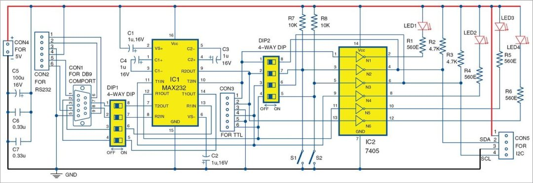 Fig. 1 Circuit of configurable RS232 to TTL to I2C adaptor